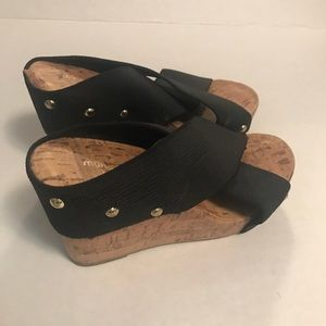 Montego Bay club women's shoes black straps wedge